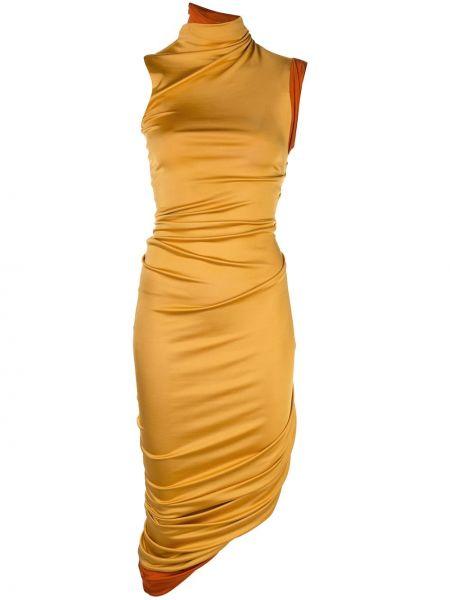 Желтое приталенное платье без рукавов из вискозы Monse