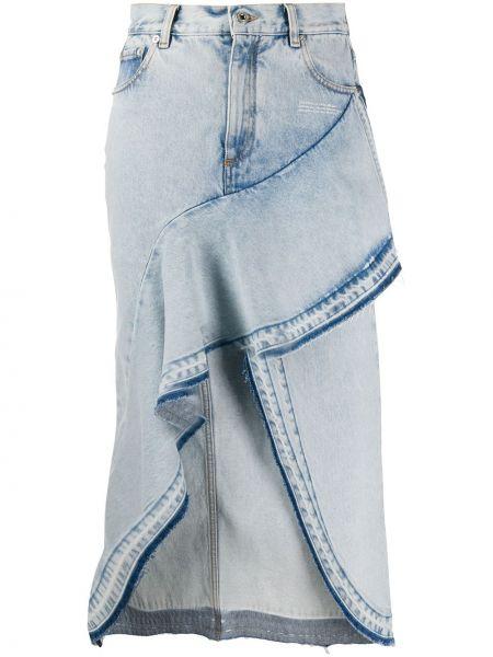 Кожаная юбка джинсовая на пуговицах Off-white