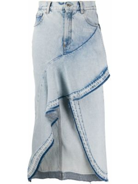 Белая кожаная джинсовая юбка на пуговицах Off-white