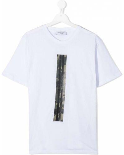 Прямая хлопковая белая рубашка с короткими рукавами Neil Barrett Kids