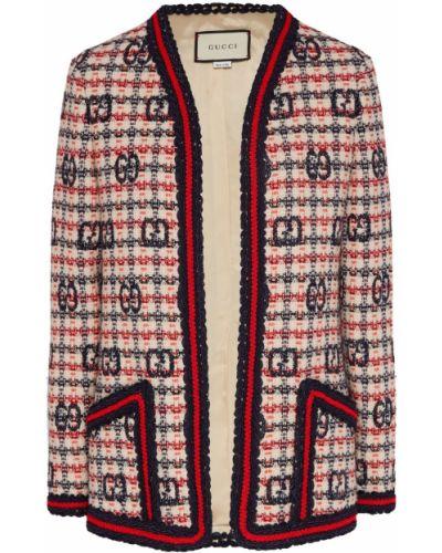 Белый пиджак твидовый в клетку Gucci