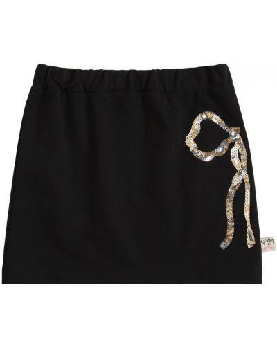 Czarna spódnica z cekinami bawełniana N°21