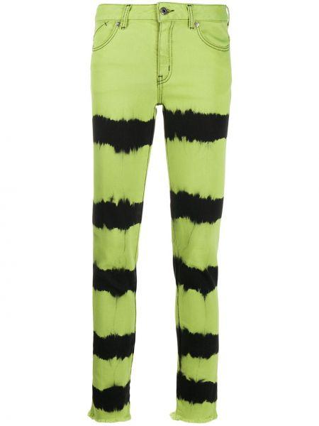 Зеленые джинсы-скинни с высокой посадкой на молнии Just Cavalli