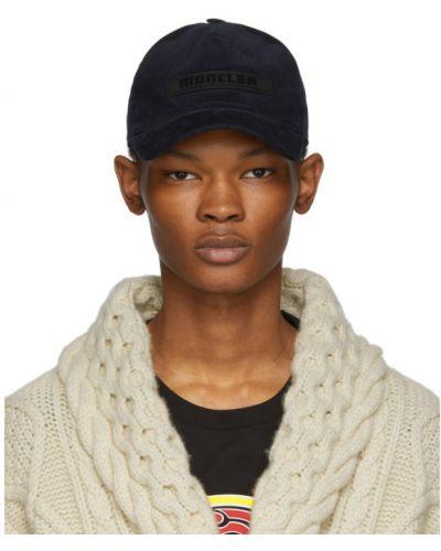 Czarny czapka z daszkiem prążkowany z aplikacjami spodnie sztruksowe Moncler