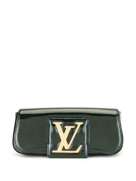 Золотистый синий кожаный клатч Louis Vuitton