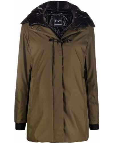 Пальто с капюшоном - зеленое Fay