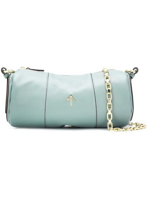 Кожаная синяя сумка на плечо на молнии Manu Atelier