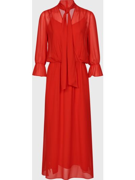Шелковое красное платье с подкладкой Luisa Spagnoli