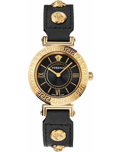 Черные с ремешком кожаные часы на кожаном ремешке Versace