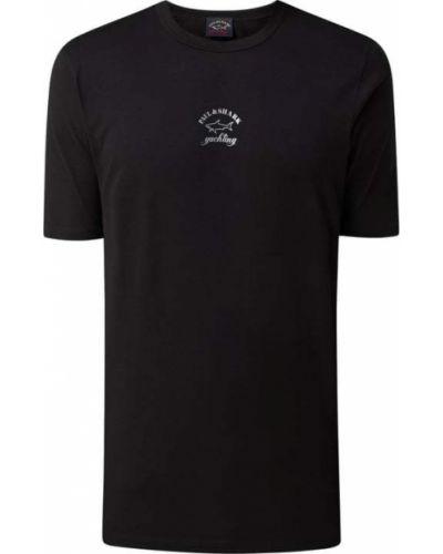 Czarny t-shirt bawełniany z printem Paul & Shark