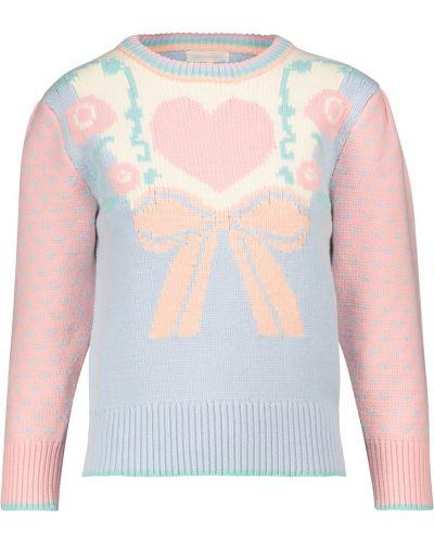 Ватный хлопковый розовый свитер Loveshackfancy