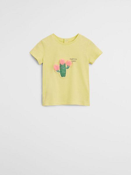 Хлопковая прямая футболка с вырезом Mango Kids