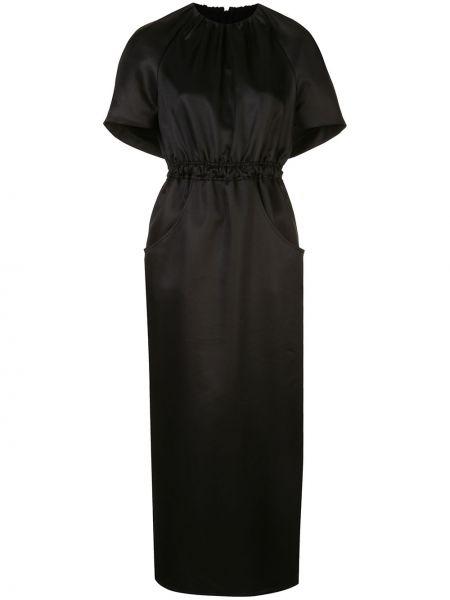 Черное прямое платье миди с вырезом эластичное Brandon Maxwell