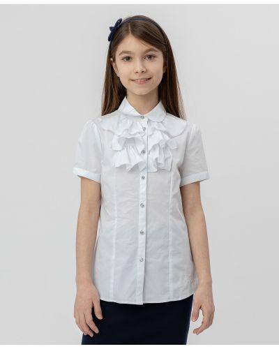 С рукавами школьная белая блузка Button Blue
