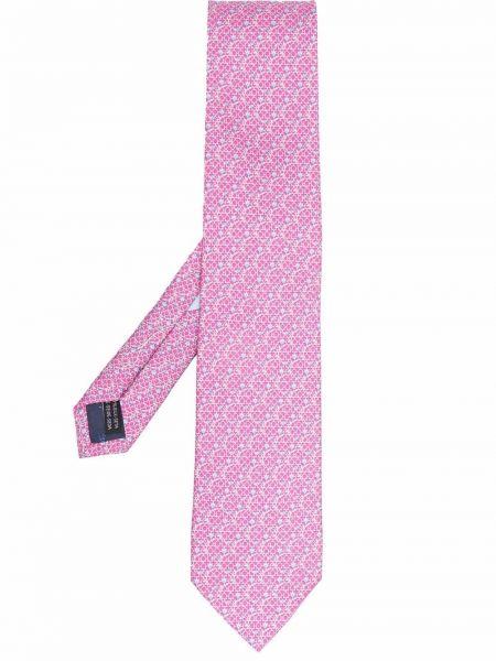 Krawat w kwiaty - różowy Salvatore Ferragamo