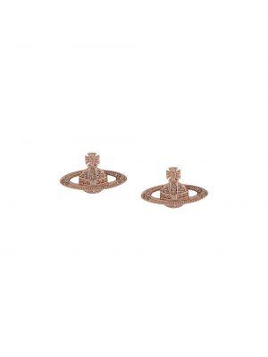 Розовые серьги-гвоздики металлические с бабочкой Vivienne Westwood