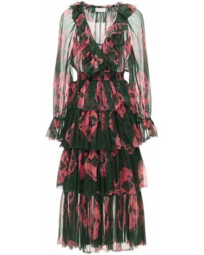 Шифоновое платье миди - зеленое Zimmermann