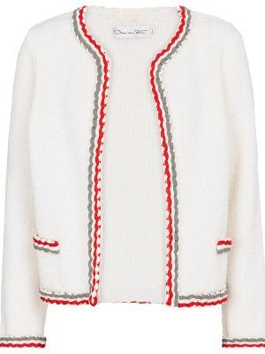 Шерстяной белый кардиган с вышивкой Oscar De La Renta
