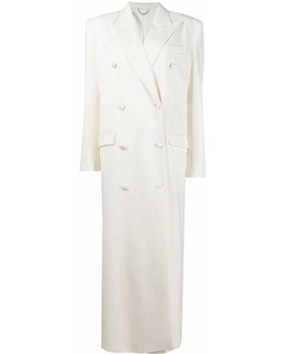 Шерстяное белое длинное пальто двубортное Magda Butrym