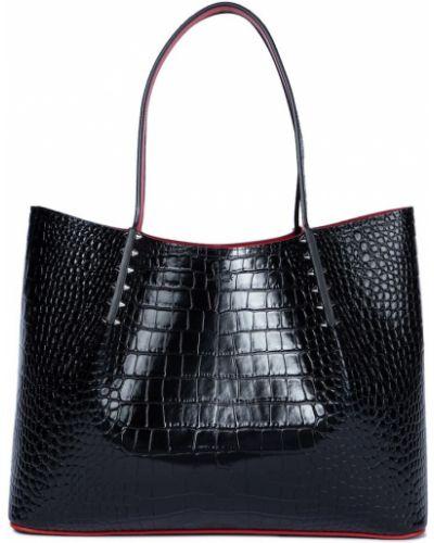 Czarna torba na ramię skórzana oversize Christian Louboutin