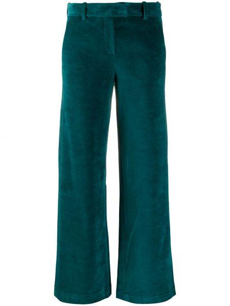 Бархатные зеленые брюки с карманами с потайной застежкой Circolo 1901