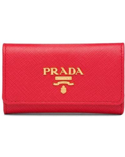 Brelok skórzany z logo Prada