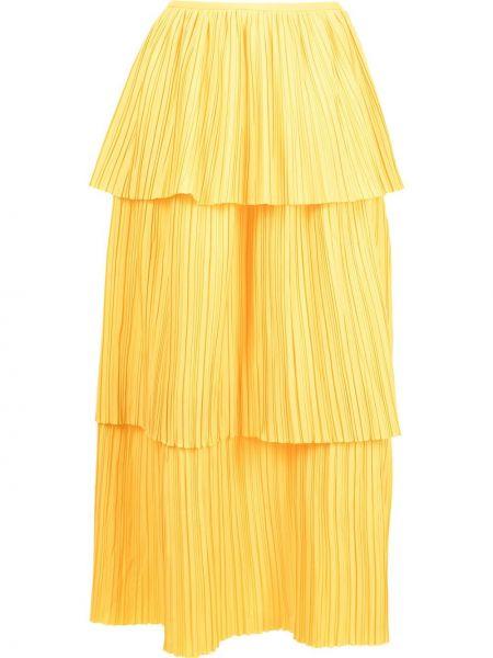 С завышенной талией желтая плиссированная юбка миди Bambah