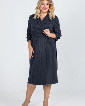 Платье с поясом в полоску на пуговицах Luxury