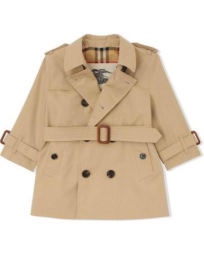 Ватное длинное пальто двубортное с карманами Burberry Kids