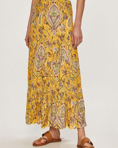 Żółta spódnica maxi rozkloszowana z wiskozy Desigual