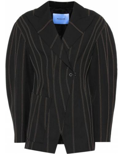 Черный пиджак оверсайз Mugler