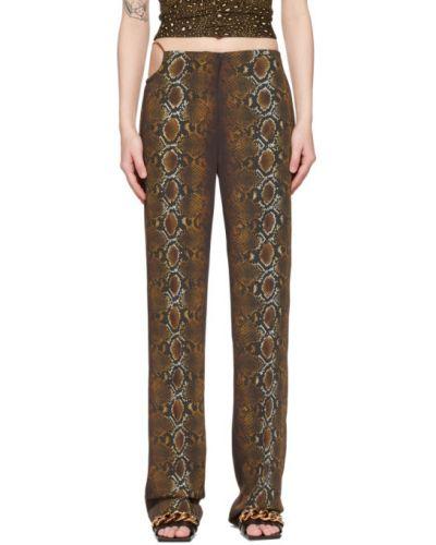Брючные коричневые брюки дудочки с карманами Versace