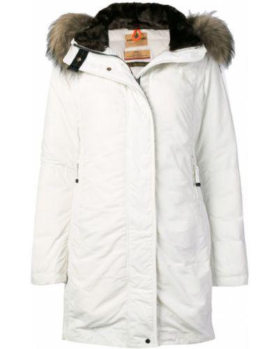 Серое длинное пальто с капюшоном на пуговицах Parajumpers