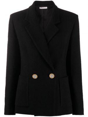 Черный пиджак двубортный для полных Alessandra Rich