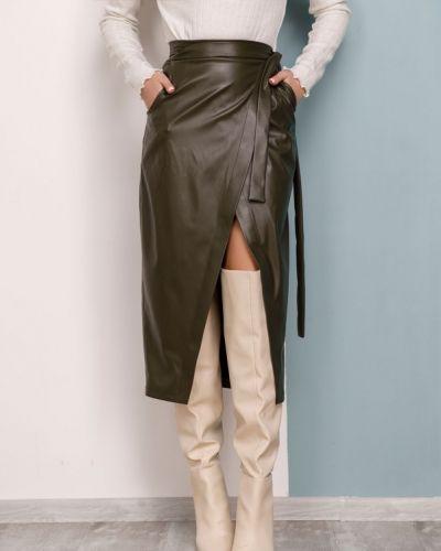 Кожаная юбка миди с запахом с карманами Issa Plus