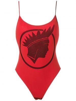 Красный слитный купальник с подкладкой с вырезом Amir Slama