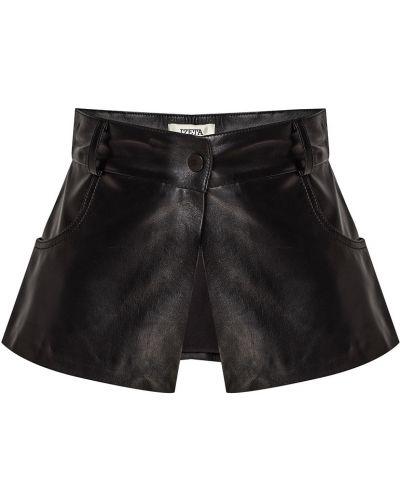 Кожаное черное боди с карманами Izeta