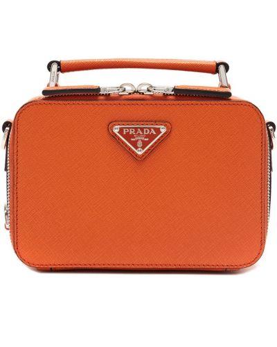 Кожаная оранжевая маленькая сумка на молнии прямоугольная Prada