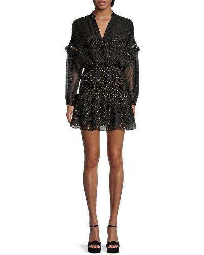 Czarna sukienka mini koronkowa z długimi rękawami Central Park West