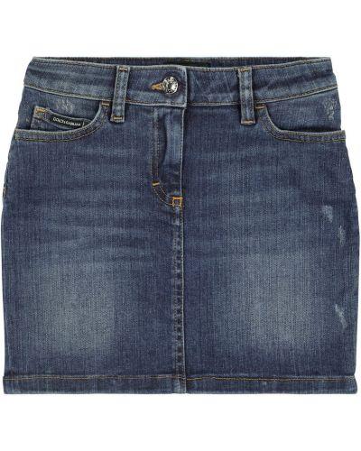 Niebieska spódnica jeansowa z haftem bawełniana Dolce & Gabbana Kids