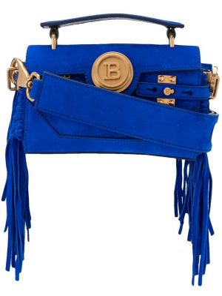 Золотистая синяя сумка-тоут металлическая с карманами Balmain