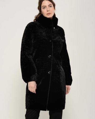Черное пальто с воротником на пуговицах Aliance Fur