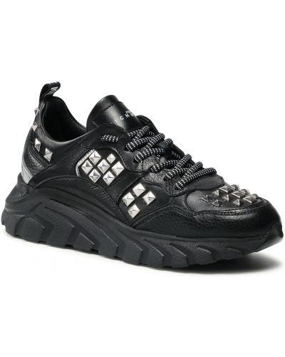Buty sportowe skorzane - czarne John Richmond