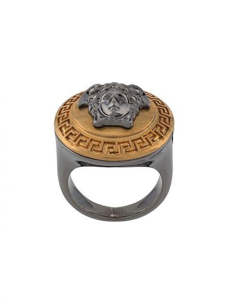 С орнаментом золотистое кольцо металлическое золотое Versace