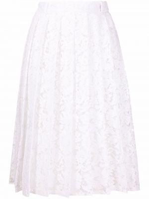 Кружевная хлопковая белая плиссированная юбка Valentino