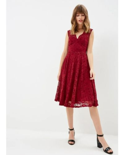 Гипюровое красное вечернее платье с открытой спиной City Goddess