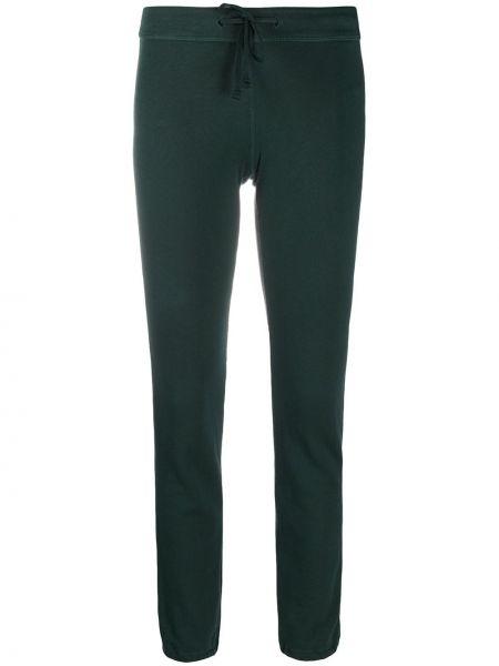 Хлопковые зеленые брюки узкого кроя эластичные James Perse