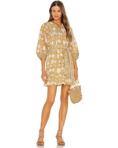 Желтое текстильное платье мини с принтом Cleobella