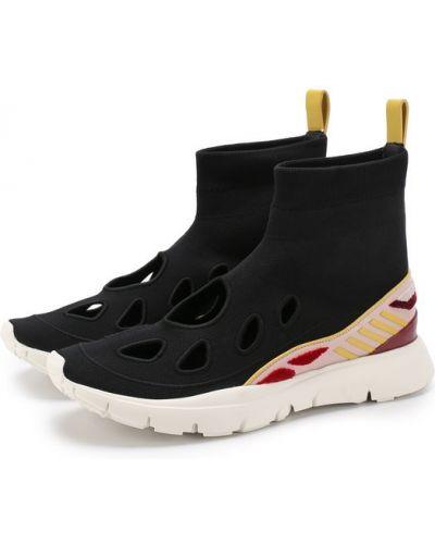 Высокие кроссовки кожаные текстильные Valentino