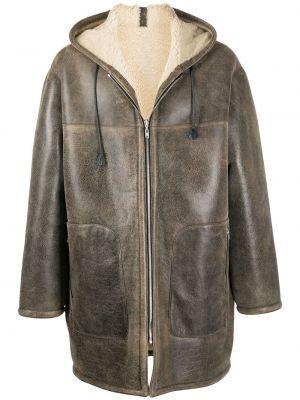 Кожаное черное длинное пальто с капюшоном Marni